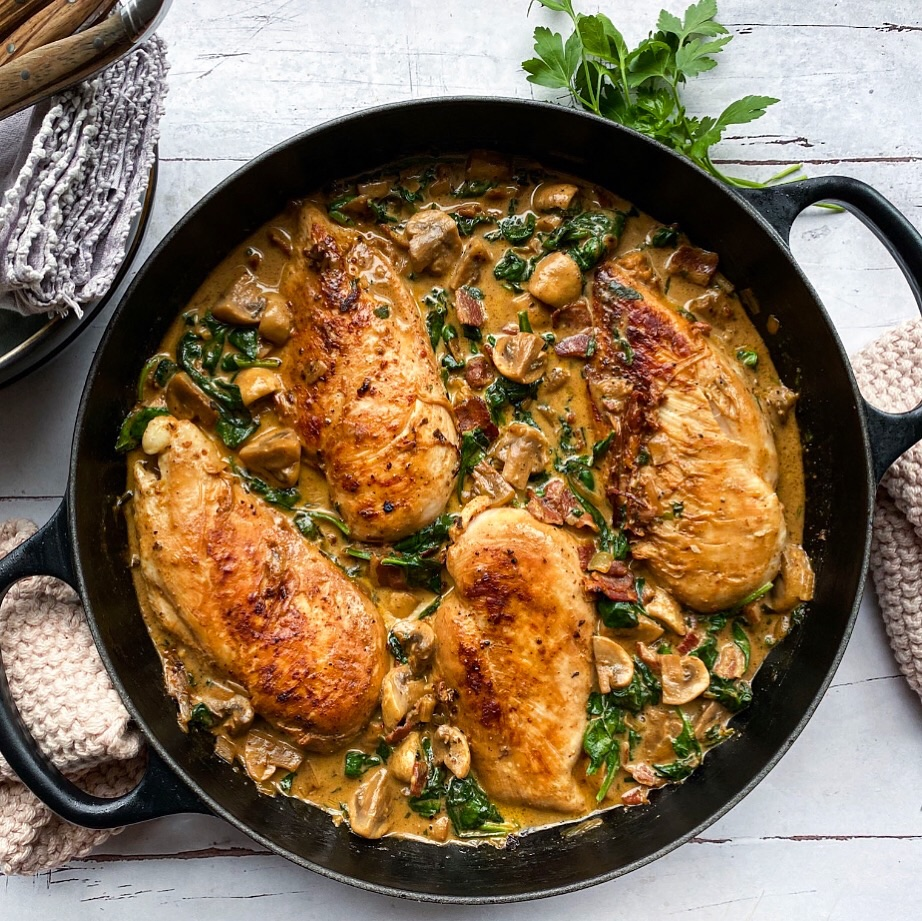 Kylling med spinat i champignonsauce